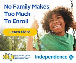 No Family Makes Too Much To Enroll text next to Learn More with cute male black child on swing for CHIP/Independence ad.
